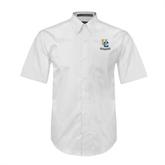 White Twill Button Down Short Sleeve-Interlocking UC Riverside