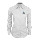 Ladies White Twill Button Down Long Sleeve-Interlocking UC Riverside