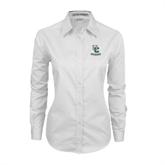 Ladies White Twill Button Down Long Sleeve-Interlocking UC Riverside