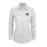 Ladies White Twill Button Down Long Sleeve-Highlander Bear