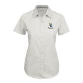 Ladies White Twill Button Up Short Sleeve-Interlocking UC Riverside