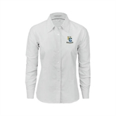 Ladies White Oxford Shirt-Interlocking UC Riverside