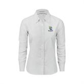 Ladies White Oxford Shirt-Interlocking UC Riverside
