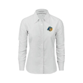 Ladies White Oxford Shirt-Highlander Bear