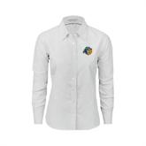 Ladies White Oxford Shirt-Highlander Bear