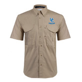 Khaki Short Sleeve Performance Fishing Shirt-Interlocking UC Riverside