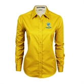 Ladies Gold Twill Button Down Long Sleeve-Interlocking UC Riverside