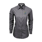 Ladies Grey Tonal Pattern Long Sleeve Shirt-Interlocking UC Riverside