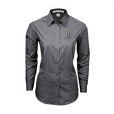 Ladies Grey Tonal Pattern Long Sleeve Shirt-Interlocking UC Riverside