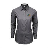 Ladies Grey Tonal Pattern Long Sleeve Shirt-Highlander Bear