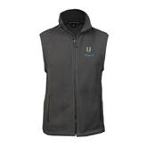 Fleece Full Zip Charcoal Vest-Interlocking UC Riverside