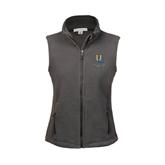 Ladies Fleece Full Zip Charcoal Vest-Interlocking UC Riverside
