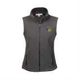 Ladies Fleece Full Zip Charcoal Vest-Highlander Bear