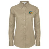 Ladies Khaki Twill Button Down Long Sleeve-Highlander Bear