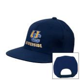 Navy Flat Bill Snapback Hat-Interlocking UC Riverside