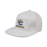 White OttoFlex Flat Bill Pro Style Hat-Interlocking UC Riverside