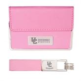 Business Card Case and Key Ring Set Pink-Interlocking UC Riverside Side Version Engraved