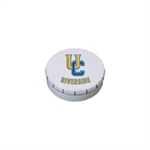 White Round Peppermint Clicker Tin-Interlocking UC Riverside