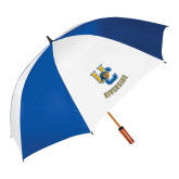 62 Inch Royal/White Umbrella-Interlocking UC Riverside w/Bear Head