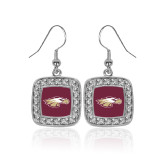 XXX Crystal Studded Square Pendant Silver Dangle Earrings-Eagle Head