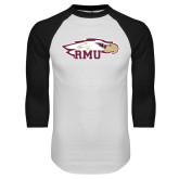 White/Black Raglan Baseball T Shirt-RMU Eagle Head