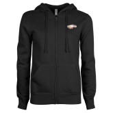 ENZA Ladies Black Fleece Full Zip Hoodie-Eagle Head