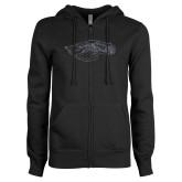 ENZA Ladies Black Fleece Full Zip Hoodie-Eagle Head Graphite Soft Glitter