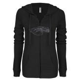 XXX ENZA Ladies Black Light Weight Fleece Full Zip Hoodie-Eagle Head Graphite Soft Glitter