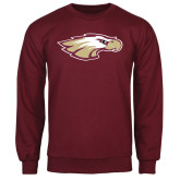 Maroon Fleece Crew-Eagle Head