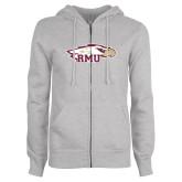 ENZA Ladies Grey Fleece Full Zip Hoodie-RMU Eagle Head