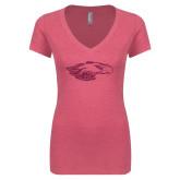 Next Level Ladies Vintage Pink Tri Blend V Neck Tee-Eagle Head Hot Pink Glitter