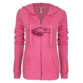 XXX ENZA Ladies Hot Pink Light Weight Fleece Full Zip Hoodie-Eagle Head Hot Pink Glitter