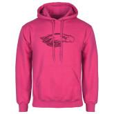 Fuchsia Fleece Hoodie-Eagle Head Hot Pink Glitter