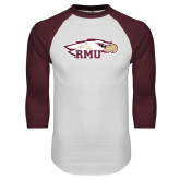 White/Maroon Raglan Baseball T Shirt-RMU Eagle Head