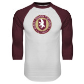White/Maroon Raglan Baseball T Shirt-Seal