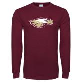 Maroon Long Sleeve T Shirt-Eagle Head