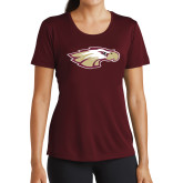 Ladies Performance Maroon Tee-Eagle Head
