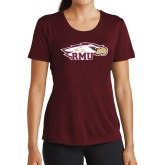 Ladies Performance Maroon Tee-RMU Eagle Head