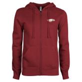 ENZA Ladies Maroon Fleece Full Zip Hoodie-Eagle Head