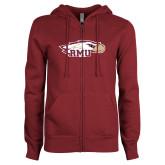 ENZA Ladies Maroon Fleece Full Zip Hoodie-RMU Eagle Head