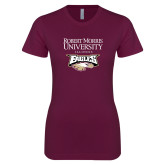 XXX Next Level Ladies SoftStyle Junior Fitted Maroon Tee-Primary Mark