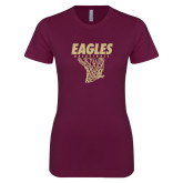XXX Next Level Ladies SoftStyle Junior Fitted Maroon Tee-Basketball