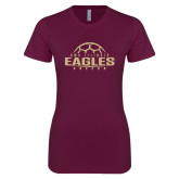 XXX Next Level Ladies SoftStyle Junior Fitted Maroon Tee-Soccer