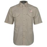 XXX Khaki Short Sleeve Performance Fishing Shirt-Eagle Head