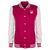 Ladies Pink Raspberry/White Fleece Letterman Jacket-Primary Mark