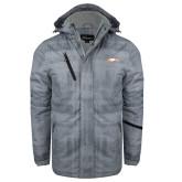 Grey Brushstroke Print Insulated Jacket-Eagle Head