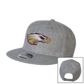 XXX Heather Grey Wool Blend Flat Bill Snapback Hat-Eagle Head