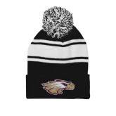 XXX Black/White Two Tone Knit Pom Beanie w/Cuff-Eagle Head