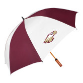 62 Inch Maroon/White Vented Umbrella-Eagle Head