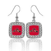 Crystal Studded Square Pendant Silver Dangle Earrings-Hammy w/ Hockey Stick